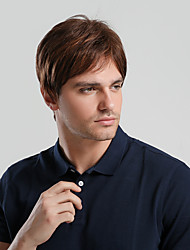 cheap -Synthetic Wig Toupees Ombre Natural Straight Pixie Cut With Bangs Wig Short Natural Black #1B Strawberry Blonde / Medium Auburn Synthetic Hair 10 inch Men's Synthetic New Comfortable Brown Ombre EMMOR
