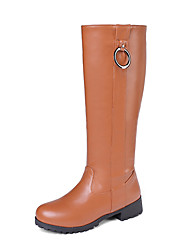 cheap -Women's Boots Chunky Heel Round Toe PU Knee High Boots Casual / Preppy Fall & Winter Black / Brown / Beige