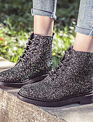 cheap -Women's Boots Block Heel Round Toe Sequin Synthetics Mid-Calf Boots Vintage / Casual Spring &  Fall / Fall & Winter Black / White / Pink / Party & Evening