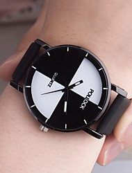 cheap -Couple's Sport Watch Quartz PU Leather Black / White / Pink No Chronograph New Design Casual Watch Analog New Arrival Fashion - Black White Pink One Year Battery Life