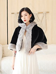 cheap -Half Sleeve Capelets Faux Fur Wedding / Party / Evening Women's Wrap With Cap