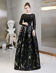 cheap -A-Line Jewel Neck Floor Length Floral Lace Plus Size Formal Evening Dress 2020 with Pattern / Print