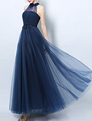 cheap -A-Line Empire Blue Prom Formal Evening Dress Halter Neck Sleeveless Floor Length Tulle with Beading Appliques 2020