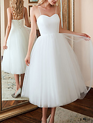 cheap -A-Line Sweetheart Neckline Tea Length Tulle Spaghetti Strap Made-To-Measure Wedding Dresses with 2020