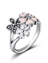 cheap -925  Silver Ring Charms With Oil drops little daisy cherry blossom Crystal Wedding Ring For Women Jewelry
