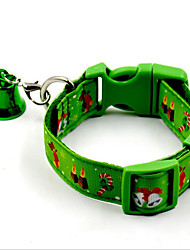 cheap -Dogs Cats Pets Collar Adjustable Portable With Bell Christmas Nylon Green Red Husky Golden Retriever Dalmatian Shih Tzu Toy Poodle Baby Pet
