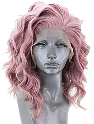 cheap -Synthetic Lace Front Wig Wavy Side Part Lace Front Wig Pink Short Pink Synthetic Hair 12-16 inch Women's Adjustable Heat Resistant Party Pink
