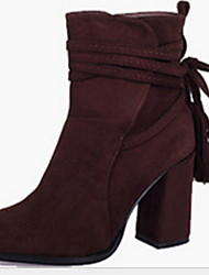 cheap -Women's Boots Chunky Heel Round Toe Suede Booties / Ankle Boots Winter Black / Almond / Coffee