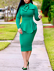 cheap -Women's Red Green Dress Elegant Street chic Going out Casual / Daily Bodycon Sheath Solid Colored Crew Neck Bow Patchwork S M Slim