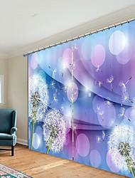 cheap -Color Background Dandelion Digital Printing 3D Curtain Shading Curtain High Precision Black Silk Fabric High Quality Curtain