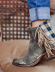 cheap -Women's Boots Cowboy / Western Boots Block Heel Pointed Toe Tassel PU Booties / Ankle Boots Vintage / Casual Spring &  Fall / Fall & Winter Gray