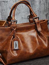 cheap -Women's Zipper PU Top Handle Bag Black / Brown