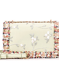 cheap -Women's Beading / Embroidery PU Evening Bag Solid Color White / Blushing Pink / Light Green