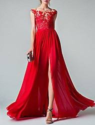 cheap -A-Line Empire Red Prom Formal Evening Dress Illusion Neck Sleeveless Sweep / Brush Train Chiffon with Appliques Split Front 2020
