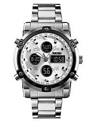 cheap -SKMEI Men's Digital Watch Digital Stainless Steel Black / Silver 30 m Water Resistant / Waterproof Alarm Calendar / date / day Analog - Digital Casual Fashion - Silver Silver+Blue Silver / Black