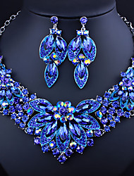 cheap -Women's Clear Blue Red AAA Cubic Zirconia Collar Necklace Chandelier Heart Fashion Elegant Rhinestone Earrings Jewelry Rainbow / Transparent / Blue For Wedding Engagement Holiday 1 set