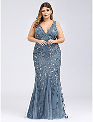 cheap -Mermaid / Trumpet Plus Size Blue Prom Formal Evening Dress V Neck Sleeveless Floor Length Lace Tulle with Pattern / Print Appliques 2020