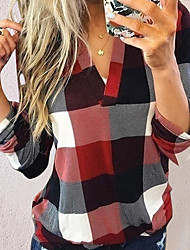 cheap -Women's Shirt Plaid Print Loose Tops Basic V Neck Blue Red Green / Going out