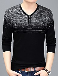 cheap -Men's Color Block Long Sleeve Pullover Sweater Jumper, V Neck Black / Purple / Navy Blue M / L / XL