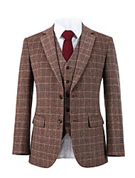 cheap -Brick red plaid tweed wool custom suit