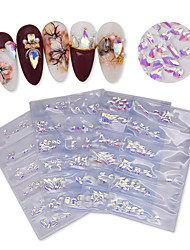 cheap -60pcs Mixed Size Flatback Clear AB Color Nail Crystal Gems 3D Art Glass Rhinestones Jewelry Diamond Nails Stone Manicure Decorations