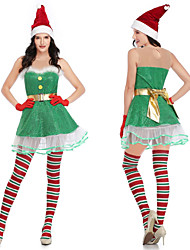 cheap -Mrs.Claus Dress Women's Adults' Costume Party Christmas Christmas Polyester Dress / Gloves / Belt / Hat / Velvet