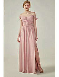 cheap -A-Line Spaghetti Strap Floor Length Chiffon Bridesmaid Dress with Sash / Ribbon / Ruching