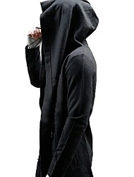 cheap -Men's Daily Fall & Winter Long Trench Coat, Solid Colored Hooded Long Sleeve Polyester Black