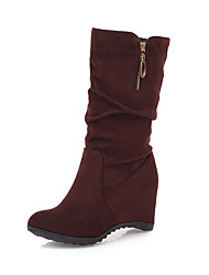 cheap -Women's Boots Hidden Heel Round Toe Faux Fur Mid-Calf Boots Casual / Sweet Spring &  Fall / Fall & Winter Black / Brown / Burgundy