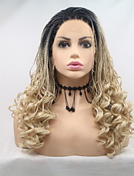 cheap -Synthetic Lace Front Wig Plaited Braid Lace Front Wig Blonde Medium Length Light Blonde Synthetic Hair 26 inch Women's Women Blonde Sylvia