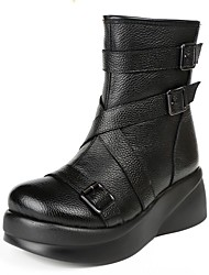 cheap -Women's Boots Wedge Heel Round Toe Nappa Leather Mid-Calf Boots Classic / Vintage Winter / Fall & Winter Black