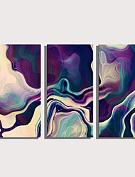 cheap -Print Rolled Canvas Prints Stretched Canvas Prints - Abstract Abstract Landscape Modern Three Panels Art Prints