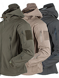 cheap -Men's Hiking Softshell Jacket Hiking Jacket Winter Outdoor Thermal / Warm Waterproof Windproof Fleece Lining Fleece Softshell Winter Jacket Top Hunting Fishing Camping / Hiking / Caving Black Dark