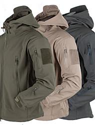 cheap -Men's Hiking Softshell Jacket Hiking Jacket Winter Outdoor Thermal / Warm Waterproof Windproof Fleece Lining Fleece Softshell Winter Jacket Top Hunting Fishing Camping / Hiking / Caving Black Dark