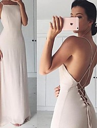 cheap -A-Line Spaghetti Strap Court Train Chiffon Elegant Formal Evening Dress 2020 with Criss Cross