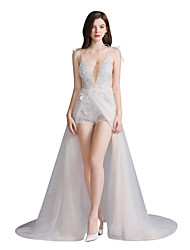 cheap -Jumpsuits V Neck Court Train Tulle Spaghetti Strap See-Through / Sexy Made-To-Measure Wedding Dresses with Beading / Appliques / Split Front 2020