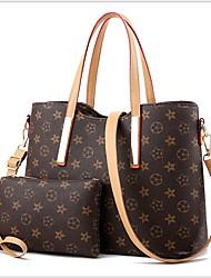 cheap -Women's Zipper PU Bag Set 2 Pieces Purse Set Black / Brown