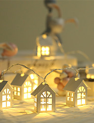 cheap -1pcs New LED Garland Wood House String Light 2m 10LEDs Room Decor String Lamp Wedding Party Holiday Fairy Lights Novelty Lamp