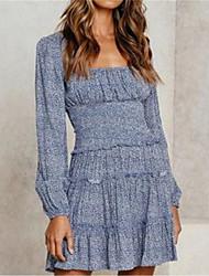 cheap -Women's Chiffon Dress - Floral Black Yellow Blue S M L XL