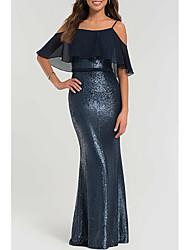 cheap -Sheath / Column Open Back Formal Evening Dress Spaghetti Strap Short Sleeve Floor Length Polyester with Sequin 2021