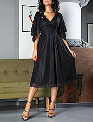 cheap -A-Line Little Black Dress Holiday Cocktail Party Dress V Neck Half Sleeve Tea Length Satin with Appliques 2020