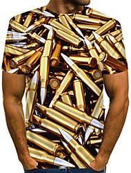 cheap -Men's T shirt Shirt Graphic Machine Plus Size Print Short Sleeve Daily Tops Basic Round Neck Gold / Summer