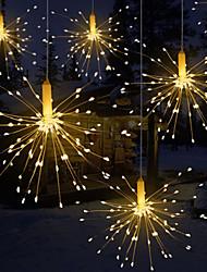 abordables -1pcs festival suspendu starburst guirlande lumineuse 120 leds feu d'artifice cuivre fée guirlande lumières de noël en plein air lumière scintillante