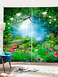cheap -Red Mushroom Forest Digital Printing 3D Curtain Shading Curtain High Precision Black Silk Cloth High Quality Curtain