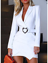 cheap -Women's Mini Sheath Dress - Long Sleeve Solid Colored Deep V Sexy Belt Not Included White Black Red S M L XL