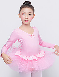 cheap -Ballet Dresses Girls' Training / Performance Spandex / Mesh Bow(s) / Ruching / Split Joint Long Sleeve Natural Dress