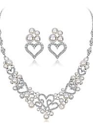 cheap -Women's White Cubic Zirconia Bridal Jewelry Sets Geometrical Flower Fashion Imitation Diamond Earrings Jewelry Silver For Wedding Party 1 set