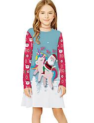 cheap -Kids Girls' Basic Cute Santa Claus Fantastic Beasts Color Block Cartoon Christmas Print Long Sleeve Knee-length Dress Light Blue