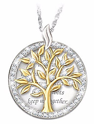 cheap -Women's Cubic Zirconia Pendant Necklace Geometrical Tree of Life Fashion Silver Plated Silver 45+5 cm Necklace Jewelry 1pc For Daily Festival