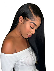 cheap -Human Hair 13x6 Closure Wig style Brazilian Hair Natural Straight Natural Wig 150% Density Smooth Women Best Quality Hot Sale Comfortable Women's Medium Length Human Hair Lace Wig / Natural Hairline